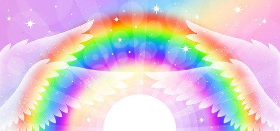 خلفية قوس قزح وأجنحة Rainbow Unicorn Images Free Artwork