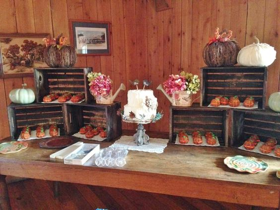 Kayla S Wedding Cake Table With Crates Mini Pumpkin Cup