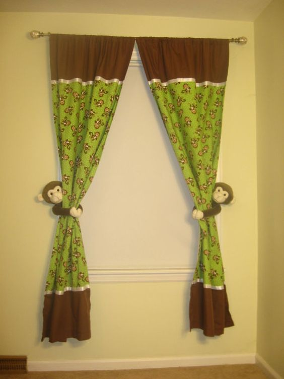 Green and Brown Monkey Curtains Blackout by CurtainsbyN on Etsy ...
