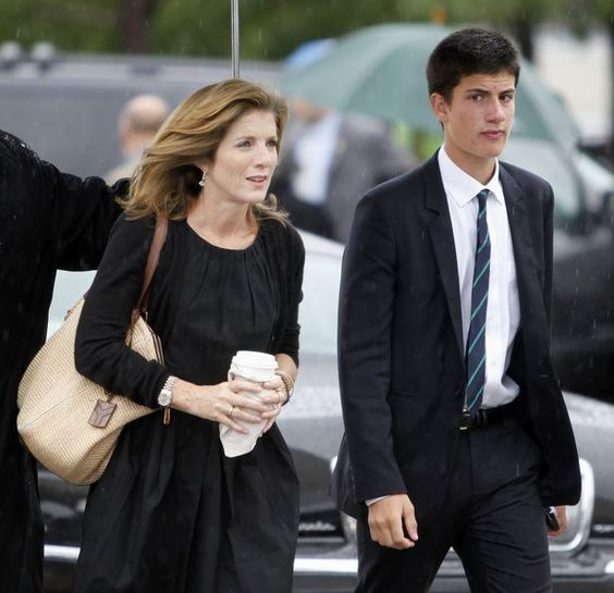 caroline kennedy and her son john arrive at the john f
