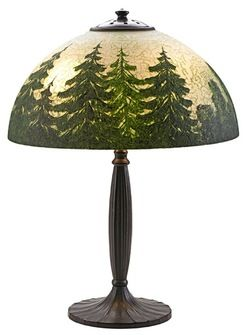 lighting, Connecticut, Handel table lamp on fluted base, shade reverse and obverse painted with pine trees, Meriden, Connecticut. Chipped ice glass shade, patinated metal base, two sockets. Shade signed Handel 5345 with US patent and tamps to collar Circa 1920-1929