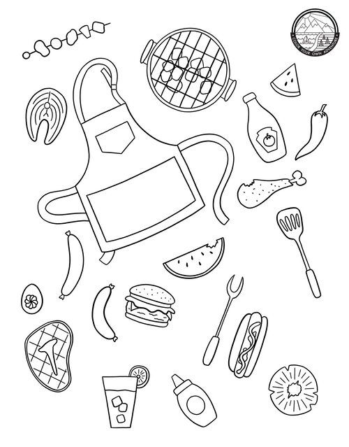 Bbq Coloring Page Coloring Pages Coloring Books Color