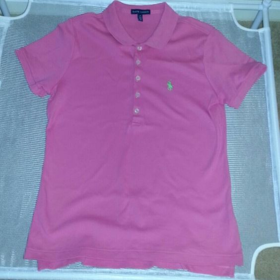 Ralph Lauren shirt Pink Ralph Lauren shirt with 5 buttons. Lime green Ralph Lauren symbol on right side. Ralph Lauren Tops Button Down Shirts