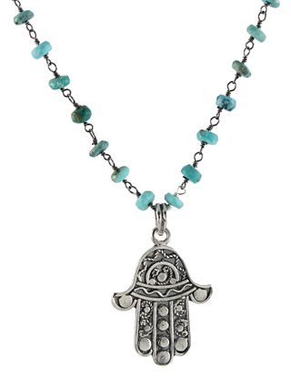 Turquoise Hamsa Necklace by Peggy Li Creations. Oxidized silver and turquoise beaded chain with a silver hamsa pendant made in Thailand.
