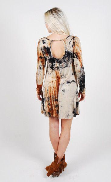 Winter Tie Dye Dress - Brown