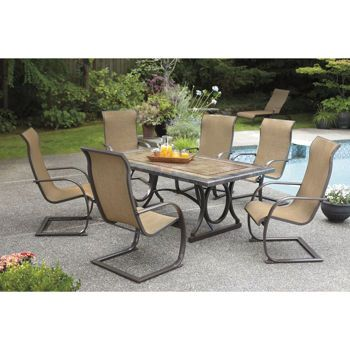 Costco Sling C Spring 7 Piece Dining Set Porcelain Table Top Deck Patio