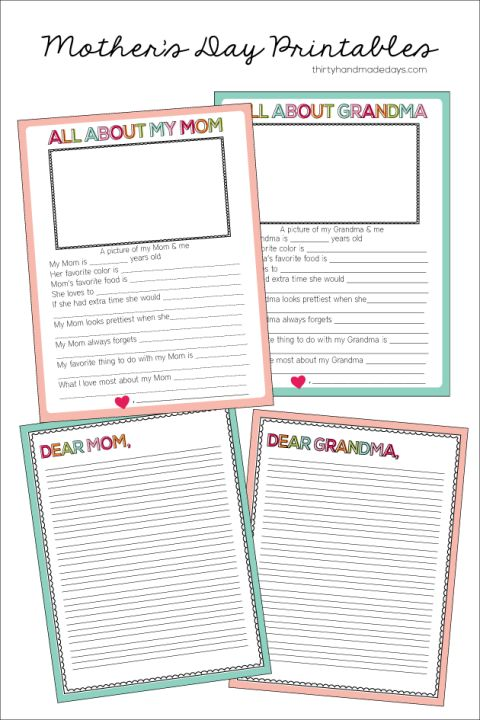 Fun fill in the blank Mother's Day Printable- for both Grandma and Mom | Thirty Handmade Days: