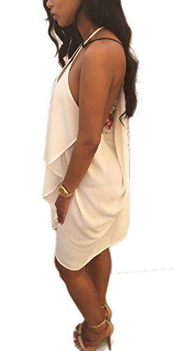 YABINA Womens Summer Spaghetti Strap Sundress Sleeveless Beach Slip Dress US10 White *** Click image to review more details.