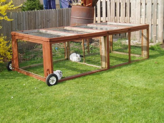 Outdoor rabbit hutch with wheels stuff i 39 d love to build for Outdoor bunny hutch