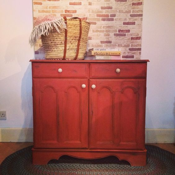 Fire Brick Red : Painted farmhouse sideboard in fire brick red chalk paint