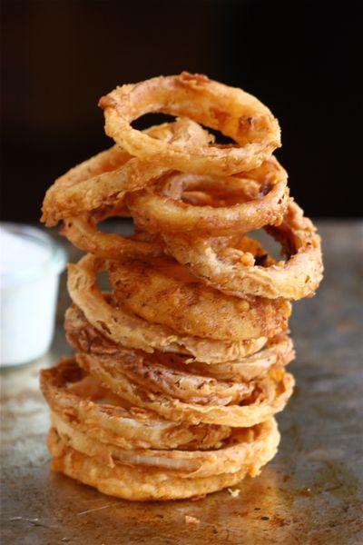 Spicy Buttermilk Onion Rings with Buttermilk Ranch Dressing.