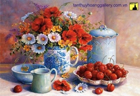 Flowers and Cherries - Still Life, Flower, Cherry, Fantasy, Colorful, Red, Beautiful, Nice, Art, Pretty