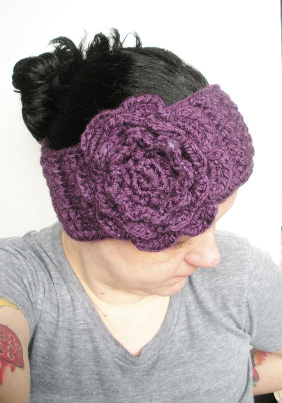 Dark Purple Crochet Headband Ear Warmer with Extra by luvbuzz, $25.00 #crochet #headband #earwarmer #fallfashionaccessories #winterfashionaccessories #purple #plum #rose #women #teens #handmadegifts #luvbuzz #etsy #shopping