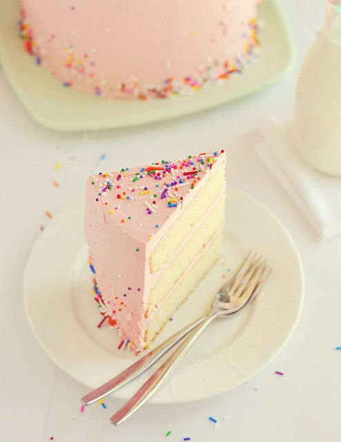 Confetti cake angel food cake, strawberry frosting, and colorful sprinkles=best cake ever! It's my birthday cake every year :):