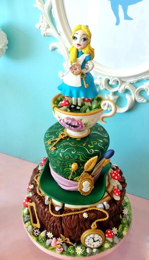 alice in wonderland baby shower cake made by sophia fox cake designer