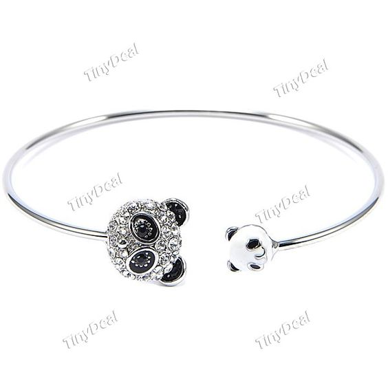 Panda Pattern Ajar Style Bracelet with Rhinestone