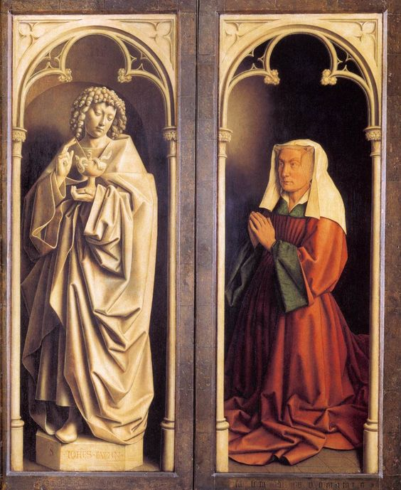 Hubert and Jan van EYCK / The Ghent Altarpiece with wings closed (lower section) / St John the Evangelist and the Donor's Wife 1432 Oil on wood Cathedral of St Bavo, Ghent:
