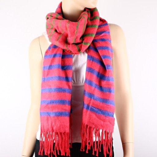 Imitation wool fuchsia color stripe winter season fashion scarf. USF0011-FUS