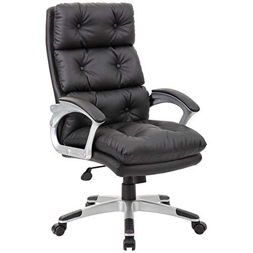 Boss Office Products B7371 Bk Chairs Executive Seating Black Chic Office Chair Leather Chair Restaurant Chairs For Sale