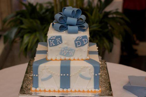 Baby Shower: Blue & Orange. Very cute.