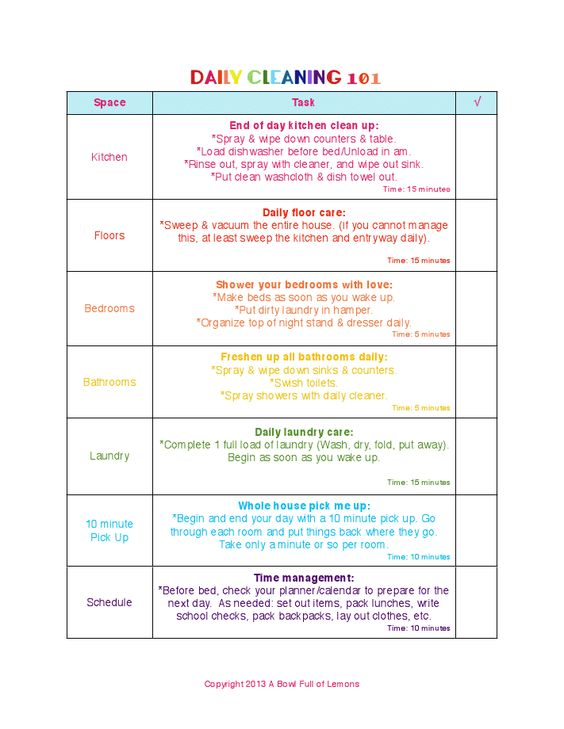 Daily Cleaning Checklist (\ Free Printable) Malu - daily checklist