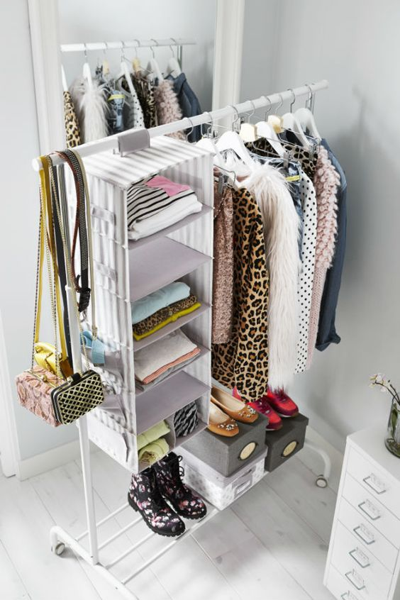 Svira hanging storage with 7 compartments gray white for Extra closet storage