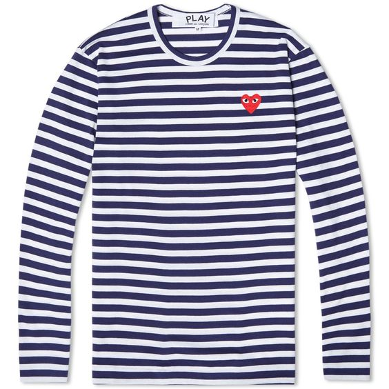 Comme des Garcons Play Long Sleeve Stripe Logo Tee