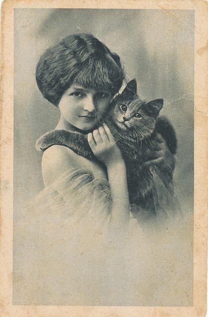 pc meisje poes 1910 (Vintage pet illustration, inspiration for portraits)