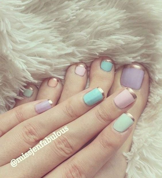 Cute baby colored nails in gold French tips. Make your nails more noticeable by adding cute and light baby colored nail polish in contrast to the strong and bold golden French tips.