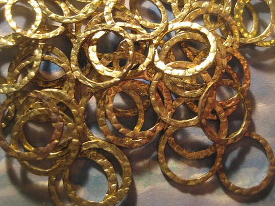 50 Vintage 13mm  Brass Ring or Hoop Findings  by StarPower99, $1.99