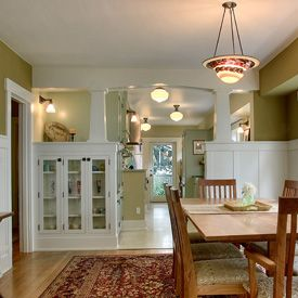 Jas design build craftsman alley half wall w cabinets for Dining room half wall ideas