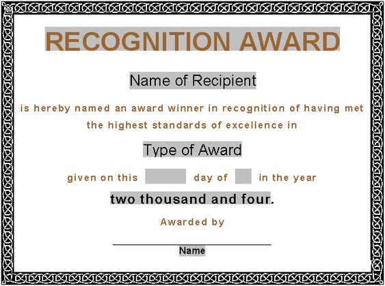 award certificate template – Examples of Award Certificates