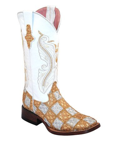 Ferrini Gold & White Patchwork Square-Toe Leather Cowboy Boot ...