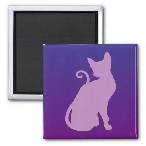 Lilac Cat on Purple Refrigerator Magnet