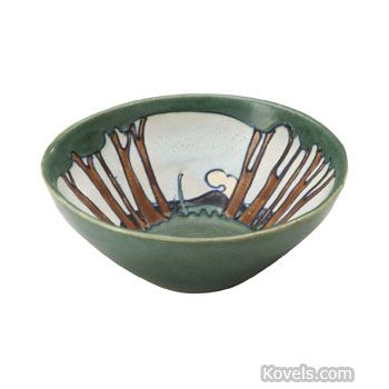 Arequipa Pottery Bowl, Pattern or Item: Squeezebag, Trees, Mountains, Clouds, Flared, F. Rhead, Description: 2 1/4 x 6 1/4 In.