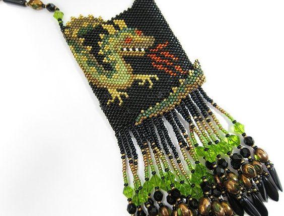 SALE Dragon Amulet Necklace by OhMyBeadingHeart on Etsy, $95.00