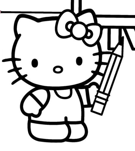 Hello Kitty Holding A Pencil Hello Kitty Coloring Pages