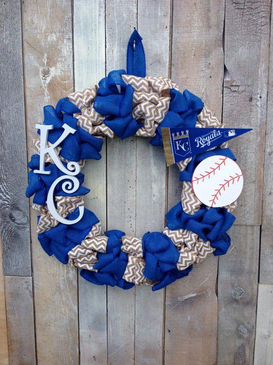 Kansas City Royals Burlap Wreath by DancingDoorsDecor on Etsy