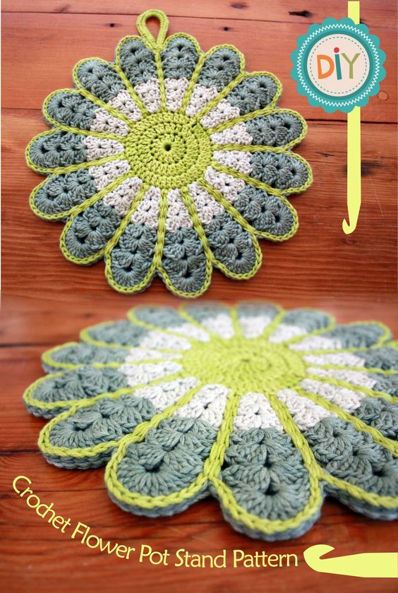 Free Crochet Patterns Hotpads Potholders : RubyRed Eclectic: FREE Pattern - Crochet Flower Potstand ...