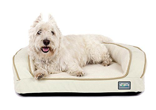 Super Comfort Bolster Dog Bed Waterproof Memory Foam Pet Bed With Durable Canvas Cover Extra Plush Fleece Cool Dog Beds Dog Pet Beds Memory Foam Pet Bed
