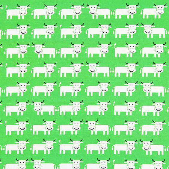 Cretonne Cow 2 - grasgrün - Cretonne - Kinderdekostoffe - Kinderstoffe mit Tieren - Baumwollstoffe Tiere - stoffe.de