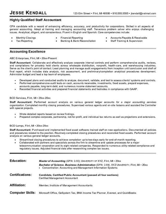 Accountant Resume Sample Work Wisdom Pinterest Sample resume - staff accountant resume