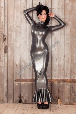 The Latex Hobble Dress Kiki skintight, extra long and with contrast color made to measure and in standard sizes available in the Latexcrazy latex shop.