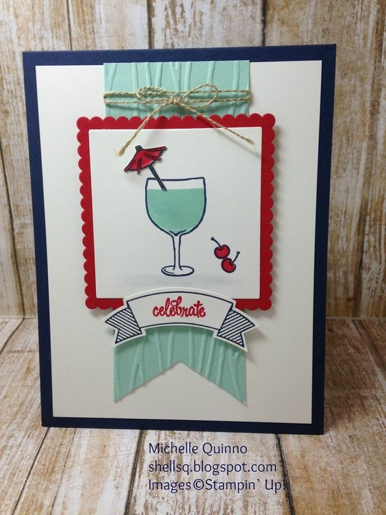 Shell Stamps: PPA 307  Made with Stampin' Up! Mixed Drinks, Thoughtful Banners…