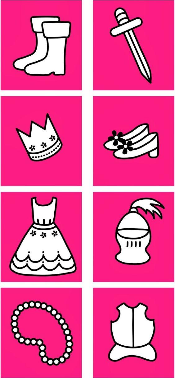 sorteren: spullen van de prins bij elkaar, spullen van de prinses bij elkaar. Juf Jessica: Prinsen & Prinsessen