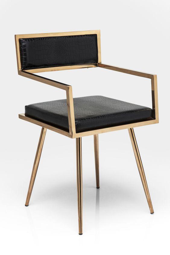 Gepolsterter Stuhl aus Leder mit Armlehnen JAZZ - KARE-DESIGN