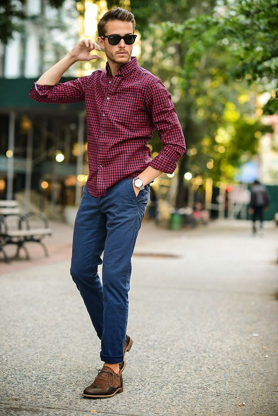 casual. blue pants, red gingham dress shirt.: