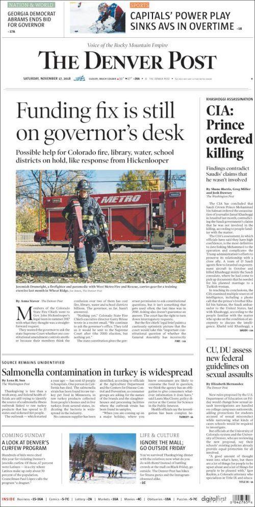 Denver Post ( Saturday November 17 2018) #news #newspaper