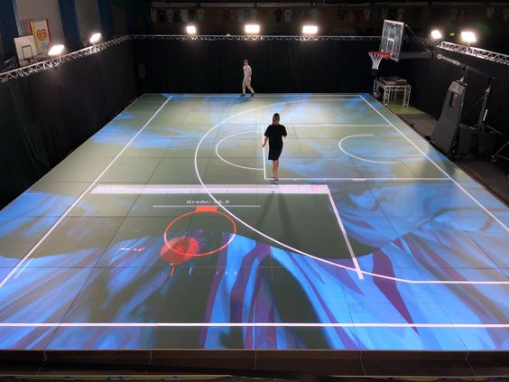 Nextgen Amsterdam 3x3 Pro League Full Led Video Floor Illuminates The 3x3 Basketball Court Design Sport Innovati Basketball Court Playground Tennis Court