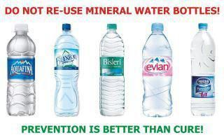 Do Not Re Use Plastic Water Bottles!  Their plastics break down over repeated use and become TOXIC. | ***Invest in a glass or stainless steel bottle to carry around with you always.  Never leave home without it.***